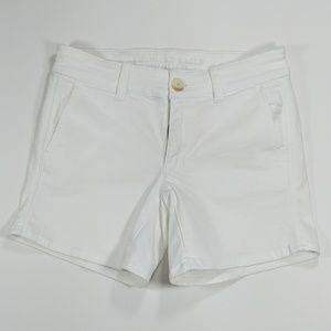 White super stretch Mid-rise cotton AE midi shorts